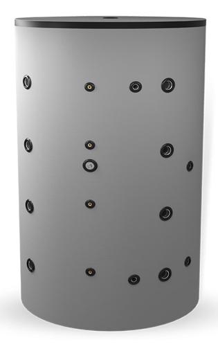 Снимка на Неемайлиран буферен съд 1500л. с една черна серпентина и една неръждаема серпентина BCWS 1500F
