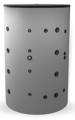 Снимка на Неемайлиран буферен съд 2000 л. с една черна и една неръждаема серпентина BCWS 2000F